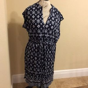 Loft cotton sundress navy blue
